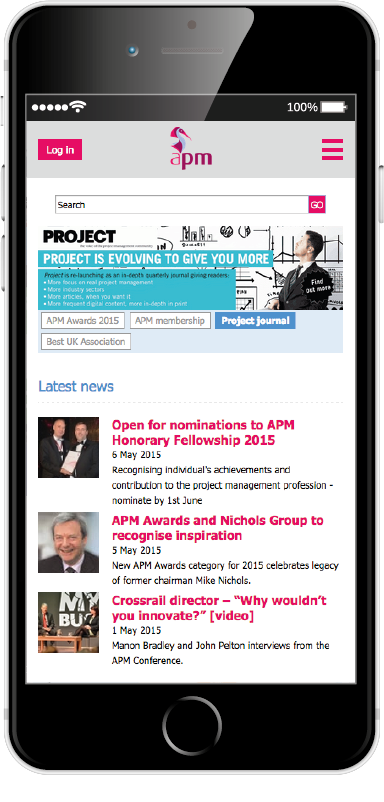 Screenshot of the APM site on mobile