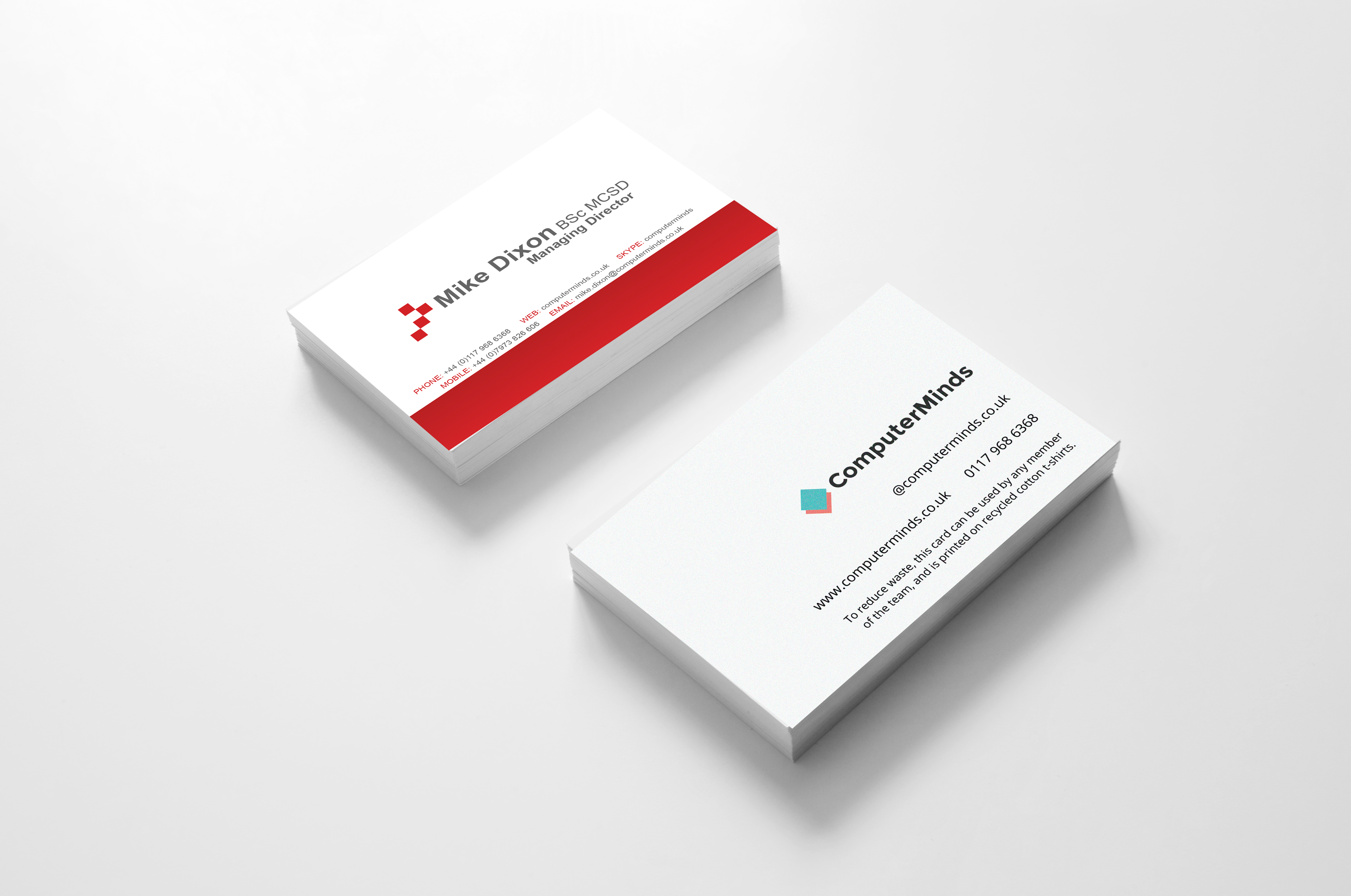 Old and new business card designs