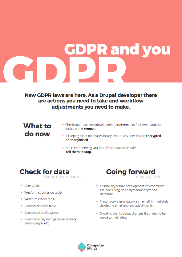 "The ""GDPR and You"" poster for developers, by ComputerMinds"