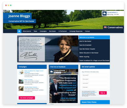 Example of a Bluetree website