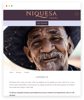 Niquesa Travel's Connect experience page