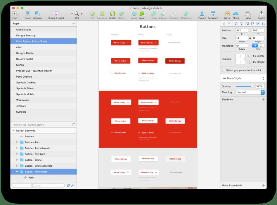Button design sketch screenshot