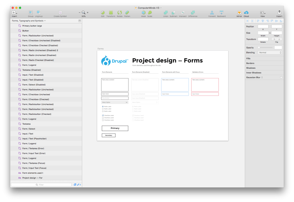 Drupal 8 design in Sketch screenshot