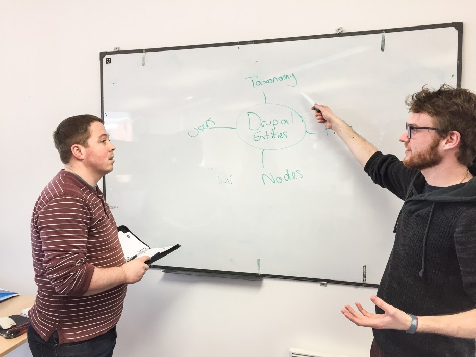 Photo of a training session in front of a whiteboard